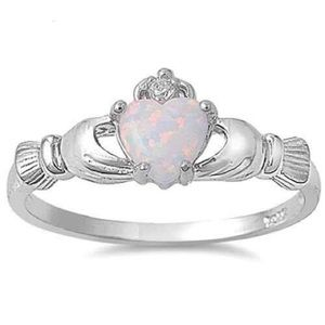 Jewelry - Sterling Silver 925 Claddagh Ring with Opal & CZ